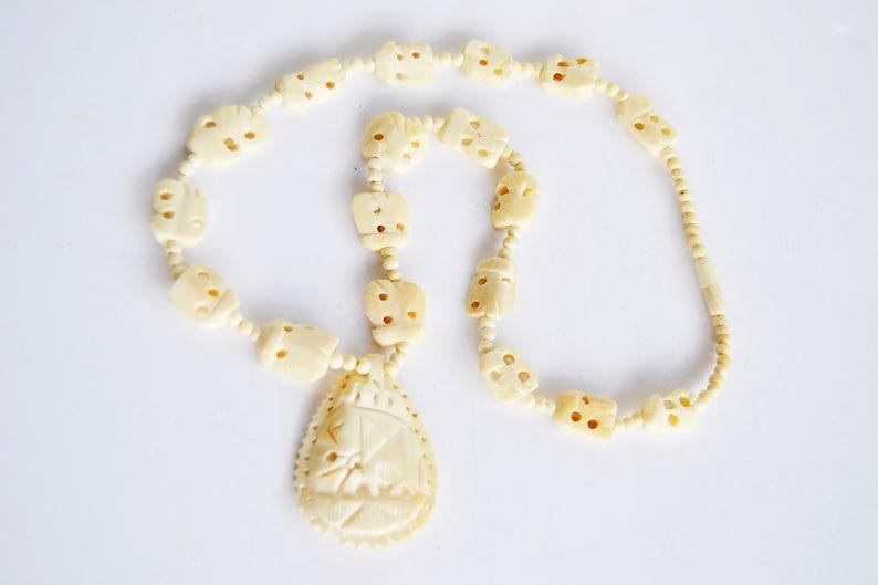 b52234bd2519 Collar elefante cuentas de hueso collar de perlas de hueso