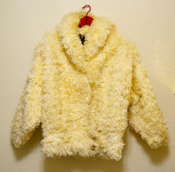 lamb coat, curly lamb fur coat, 1980s Donkey jacke