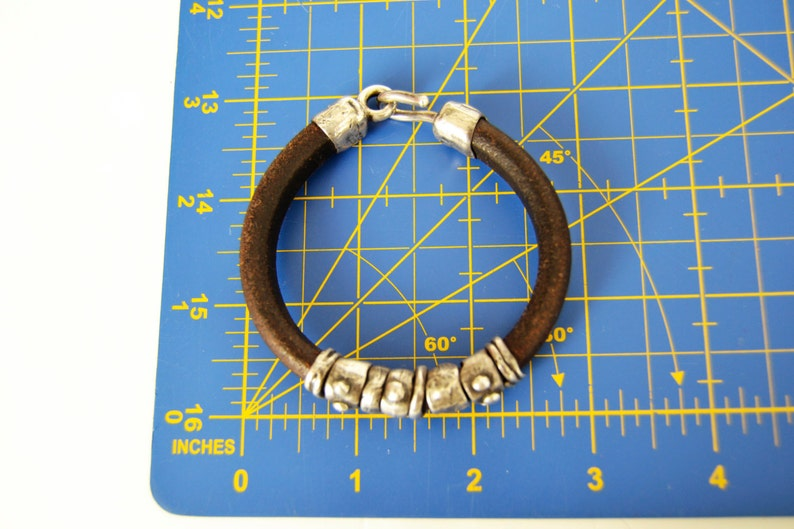 31 gr grift for men,raw sterling silver,PLATADEPALO leather bracelet and silver PULS Silver Brown Weight