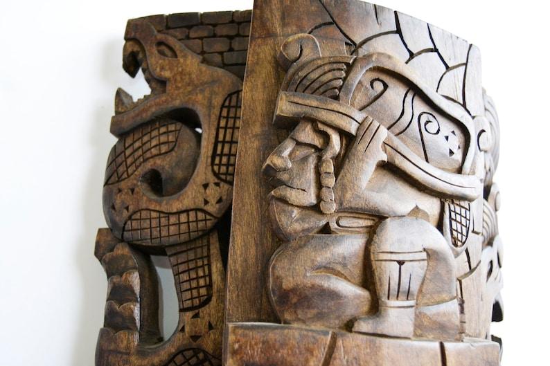 wooden mask wooden mask Mayan decor Mayan totem Inca decor Inca mask Mayan mask Aztec decordioses of the Mayan Aztec mask