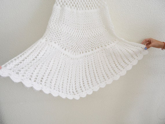 crochet skirt, wool skirt, white skirt, winter ski