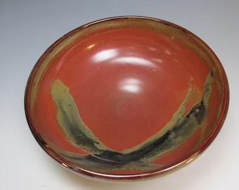 Large, handmade, stoneware serving bowl. Red, black purple, ceramic bowl