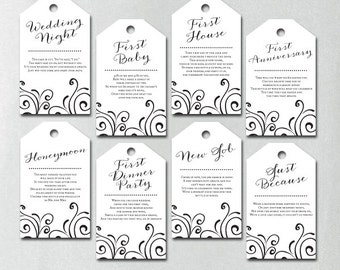 printed milestone wine tags wine tags bridal shower wine poem tags year of firsts wine tags white