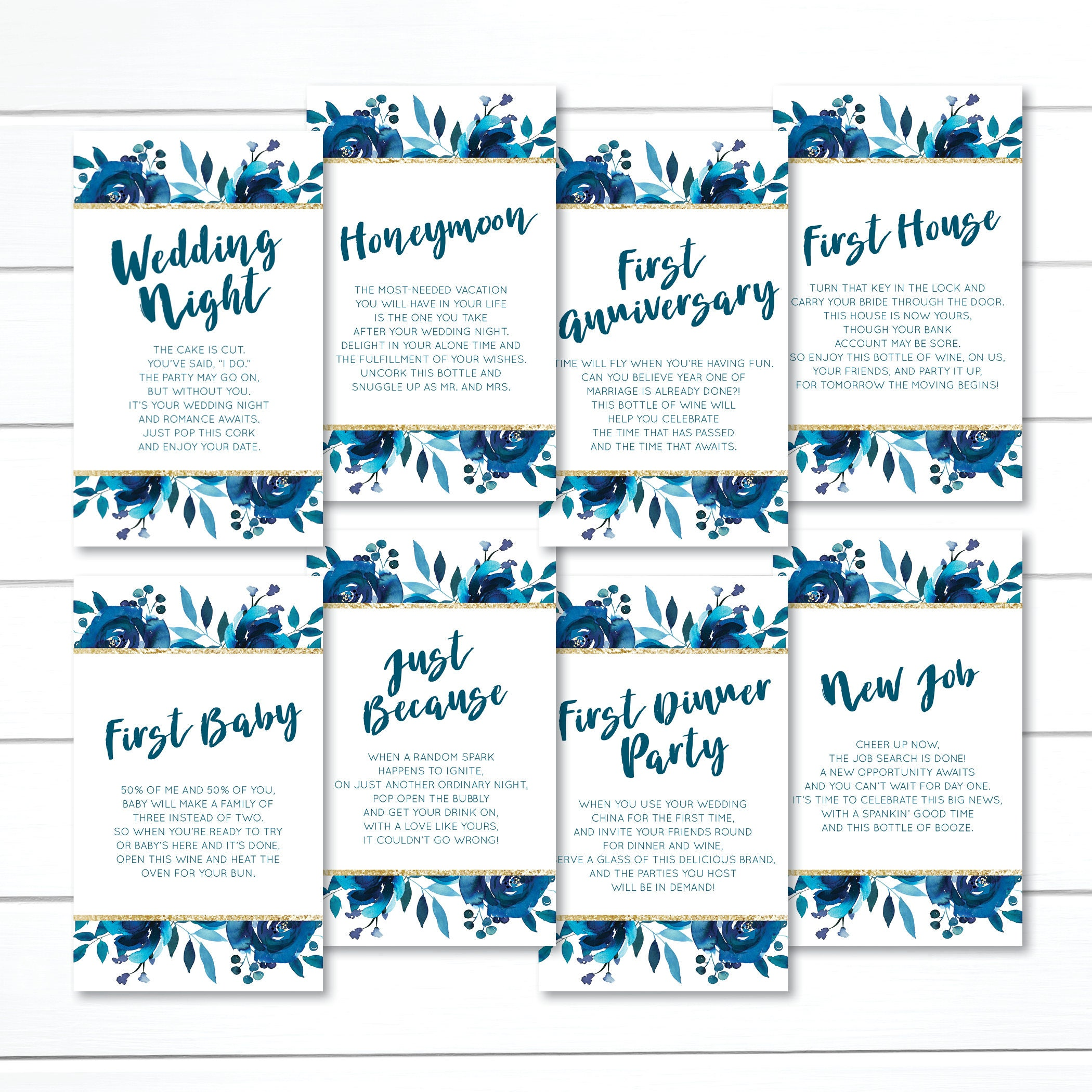 CUSTOM, Wedding Wine Tags, Wine Poem Tags, Year of Firsts Wine Tags ...