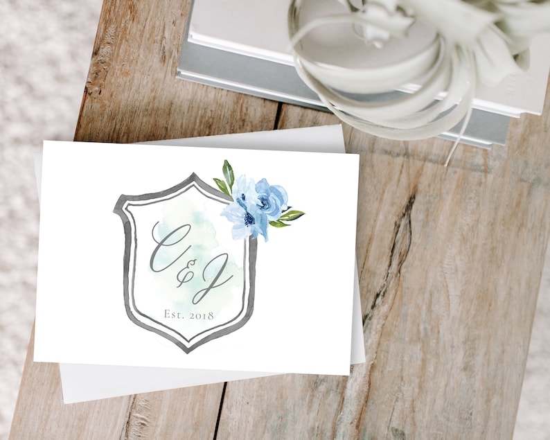 Personalized Blue Crest Thank You Cards For Wedding Thank You Etsy