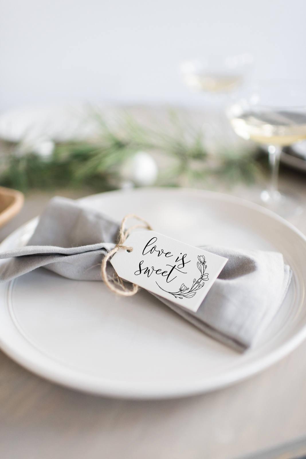 Silverware Tags Place Setting Tags Wedding Tags Bridal