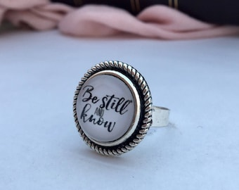 Be still and know adjustable ring