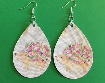 Hedgehog faux leather earrings