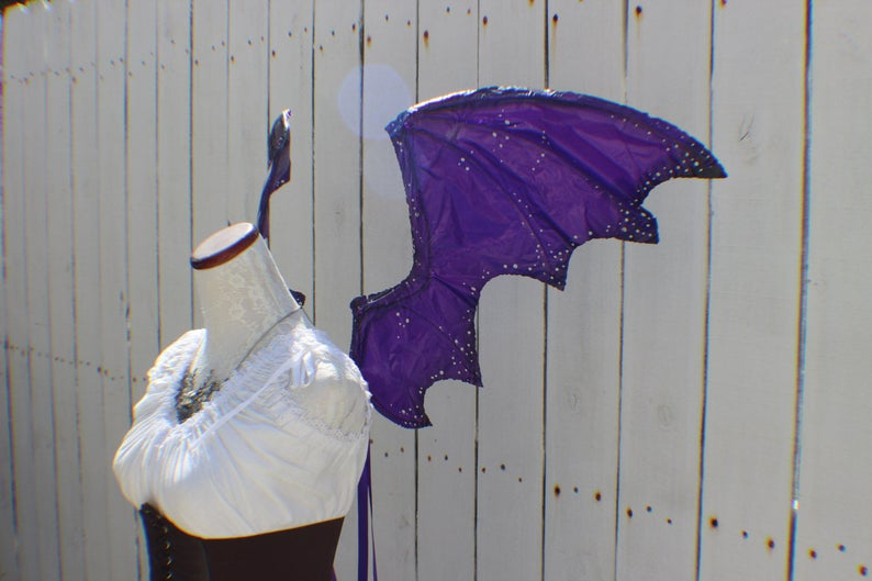Dragon inspired wings in dark purple and black with jewels