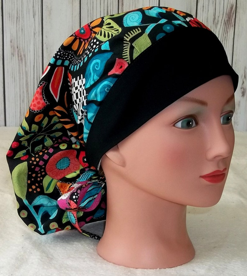 Bouffant surgical scrub hat cap women blue purple black red orange batik