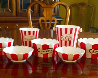 Shafford Country Club Red & White Strip Party Serving Bowls by Yona