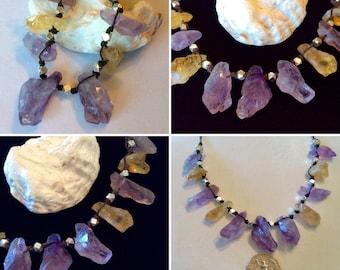 Minimalist Jewelry Raw Nuggets Raw Smoky Quartz Chunks Gemstone Bar Necklace Sterling Chain Layering Necklace Pure Silver Beads