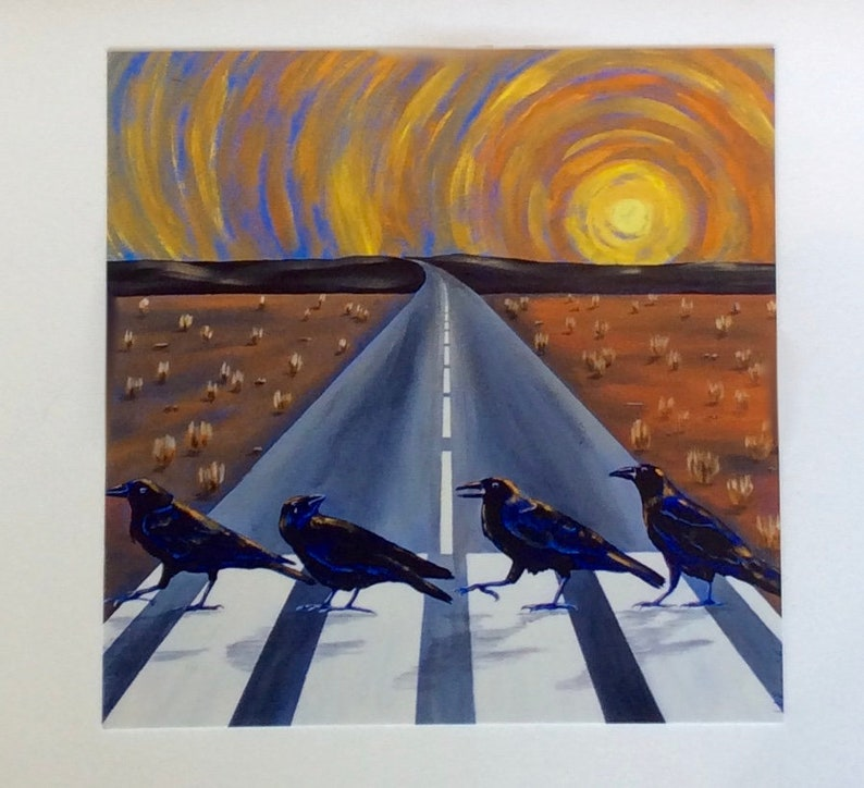 Blank Greeting Card Black Sorrows Original Art Print 5 x 7 Card with Envelope Birds Black Crows Card for Bird Lover Abbey Road