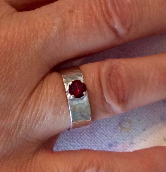Garnet ring with wide rail