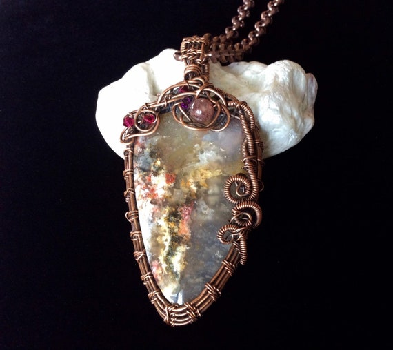 Wire Wrapped Fall Colours Pearls Statement Pendant Unisex Style Woven Copper Boho Crazy Lace Agate Pendant Gift for Men or Women