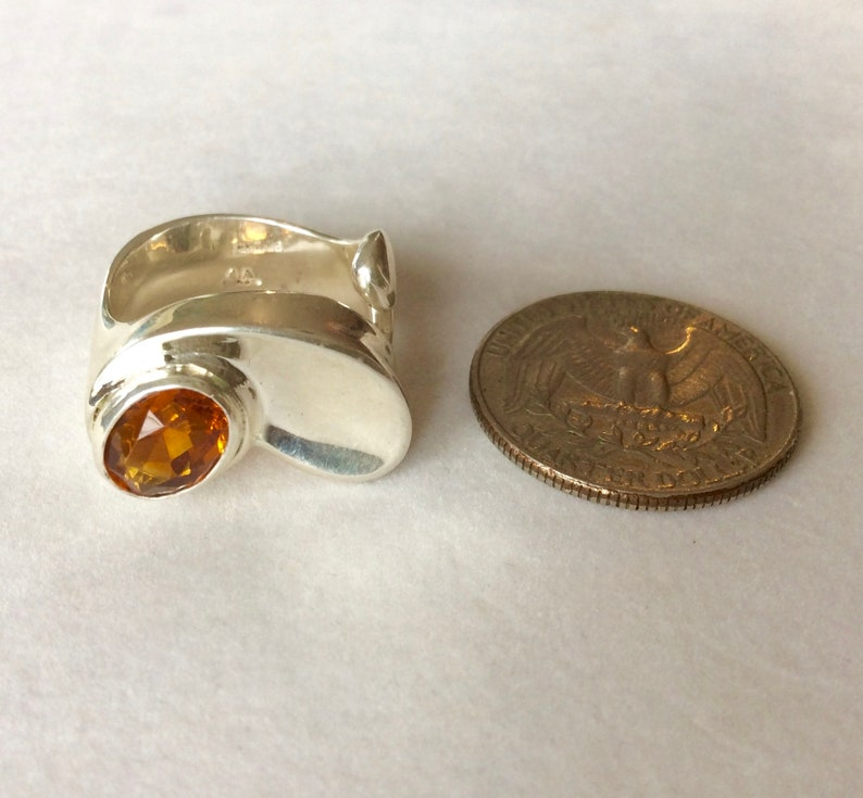 OrangeGold Size 7 12-8 Sterling Silver November Comfort Fit Unique Art Nouveau Style Madeira Faceted Citrine Ring OOAK RTS U.S