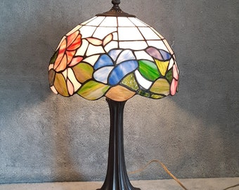 Stained Glass Lamp - Floral Motif - Accent Lamp - Morning Glory Theme - Table Lamp