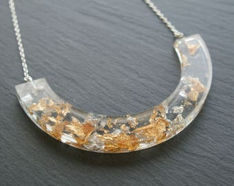 Gold and Silver Leaf Crescent Necklace