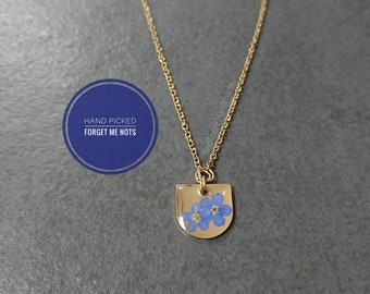 Real Forget Me Not Necklace Brass and Gold Anodised Surgical steel | Small Cluster Half Moon Brass