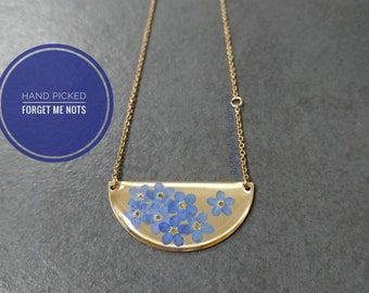 Real Forget Me Not Necklace Brass and Gold Anodised Surgical steel | Half Moon Brass