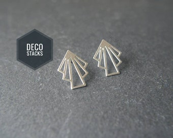 Silver Art Deco Stack Stud Earrings. Limited Edition