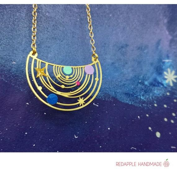 Rainbow Solar System Necklace | Constellation Jewellery | Limited Edition | Rainbow Patina