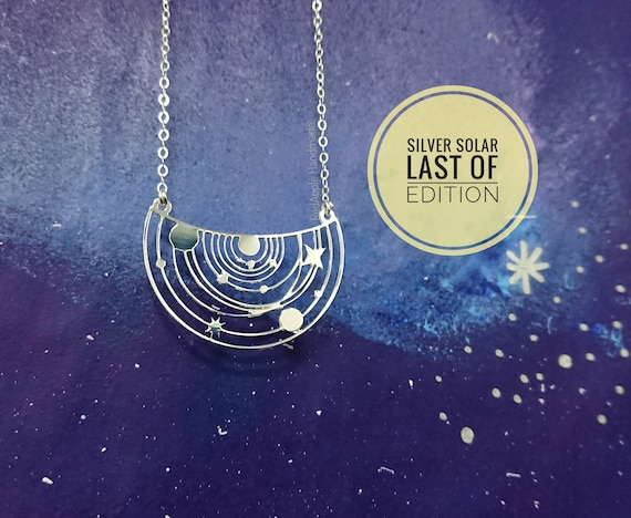 Silver Solar System Necklace | Constellation Jewellery | Limited Edition | Rainbow pendant