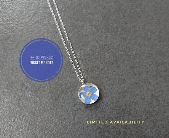 Real Forget Me Not Necklace in Sterling silver | Myosotis | Something Blue