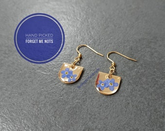 Real Forget Me Not Drop Earrings Brass and Gold Anodised Surgical steel | Small Cluster Half Moon Brass