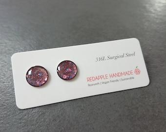 Purple Hexagon Galaxy Post Earrings | Surgical Steel