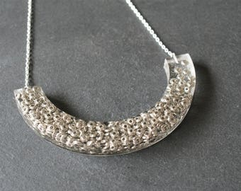 Silver Crescent Necklace, Asteroid Necklace, Resin Jewellery