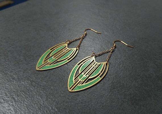 Lime Green Art Deco Earrings | Resin Earrings | Limited Edition | RedApple Original