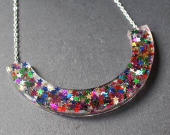 Crescent Necklace, Milky Way, Resin Jewellery