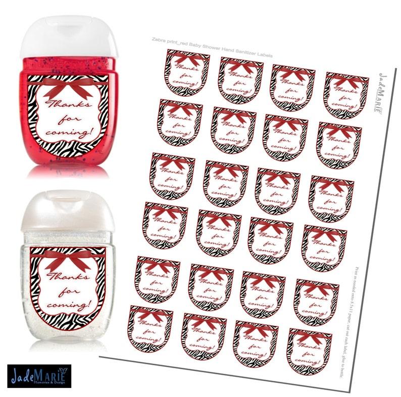 Bridal shower favors Zebra print Hand Sanitizer labels Baby Shower favors