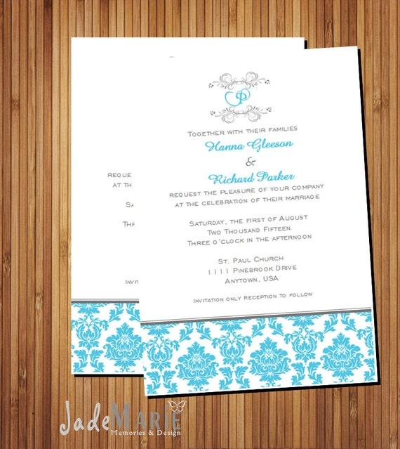The Noa Design InfoReception card RSVP Printable wedding invitation suite- Invite /& Monogram Damask