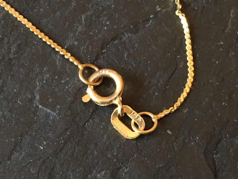 1 BROKEN 14k solid yellow gold 0.9g 21-22 used vintage necklace VTG 80s 14 k thin flat S chain jeweler/'s scrap gold no spring ring supply