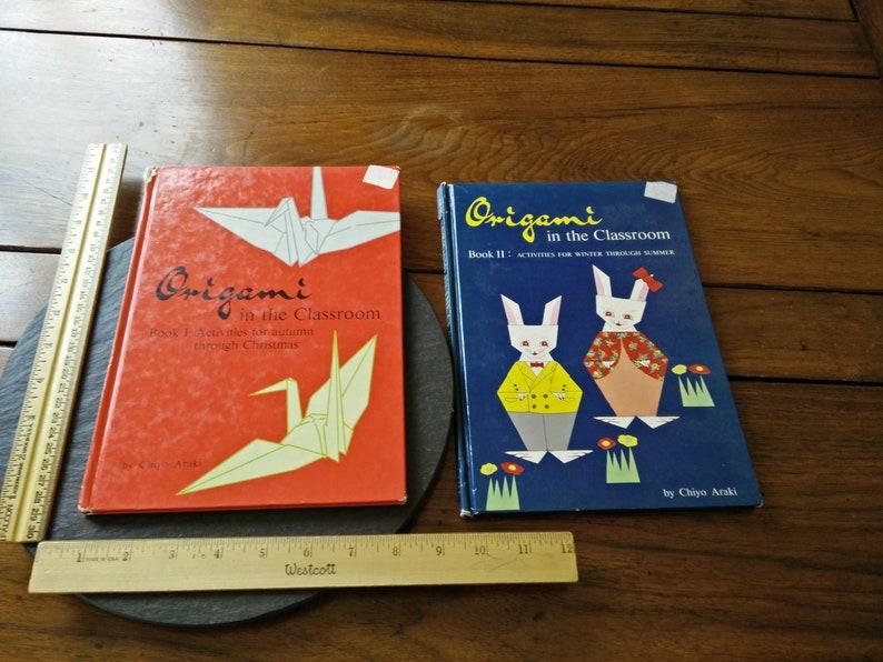 VTG 1st Ed 1964 fold and paste origami kids story book Florence Sakade  Kazuhiko Sono & 5 Japanese culture folk fairy tales cool old graphics