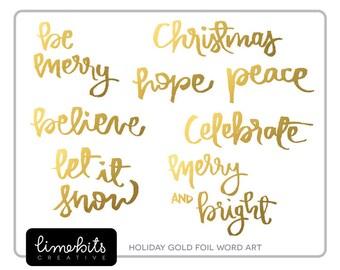 Gold Foil and Glitter Holiday Handwritten Word Art