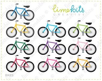 Bikes Clip Art. Ten colors.