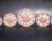 5 quot OLD ENGLISH CASTLES quot Pink plates - Vintage collection by Johnson Bros. England