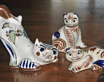 3 TONALA Cats - Mexican folk art - Vintage
