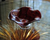 RED GLASS BOWL - Murano Like Hand Blown Pedestal Bowl - Vintage