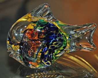 Burst of Color Glass Fish - Hand Blown - Jim Krag - 1998-Vintage