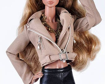 ELENPRIV light brown leather biker jacket with full satin lining for Fashion Royalty FR2 and similar body size dolls