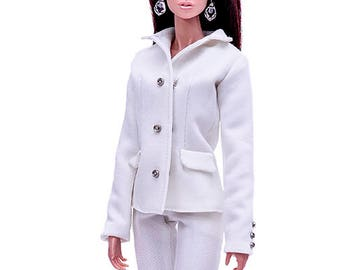 """ELENPRIV ivory classic jacket with full polyester lining for Fashion royalty FR2 12"""" and similar body size dolls"""
