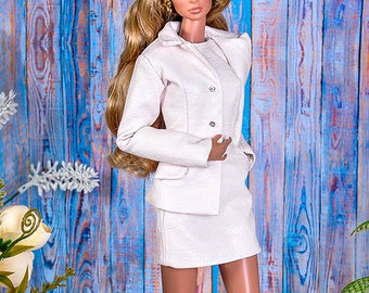 """ELENPRIV powder leather jacket with full polyester lining for Fashion royalty FR2 12"""" and similar body size dolls"""