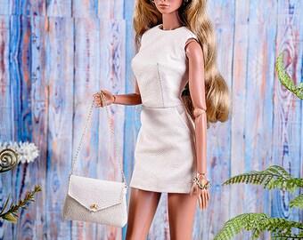 ELENPRIV powder leather mini dress for Fashion royalty FR2 and similar body size dolls