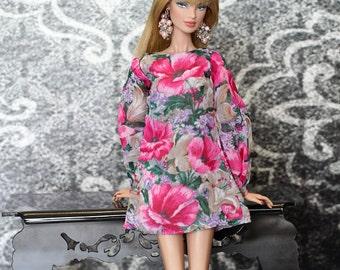 ELENPRIV floral printed chiffon mini dress for Fashion royalty FR2 and similar body size dolls.