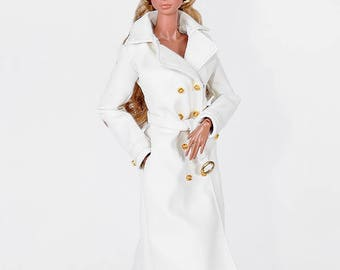 ELENPRIV ivory leather trench coat with full lining for Fashion royalty FR2 and similar body size dolls