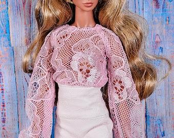 ELENPRIV peach guipure blouse for Fashion royalty FR2 and similar body size dolls